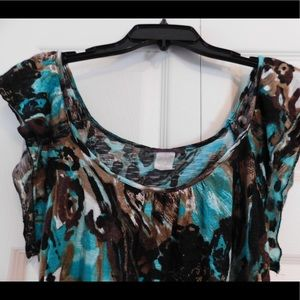 Agenda Teal & Brown Ladies Casual Top - Size M